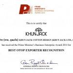 PM Award: Prime Minister's Business Enterprise Award: Best OTOP Export Recognition 2014